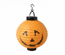 Halloween decorative props, portable luminous paper LED lanterns / diameter 20cm spider bat Skull printed