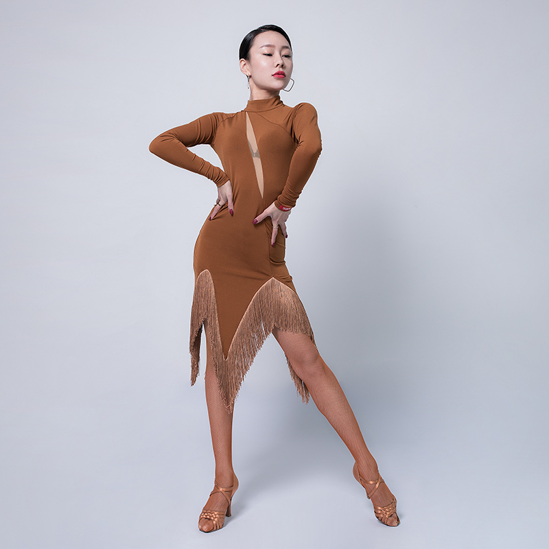 Latin Costumes For Women Long Sleeve Fringe Skirt Modern Ballroom Dance Competition Dress Salsa/Cha Cha Dance Clothes VO299