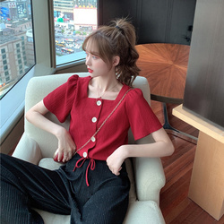 Short sleeved small crowd shirt personality square collar jacket + sparkling wide leg pants