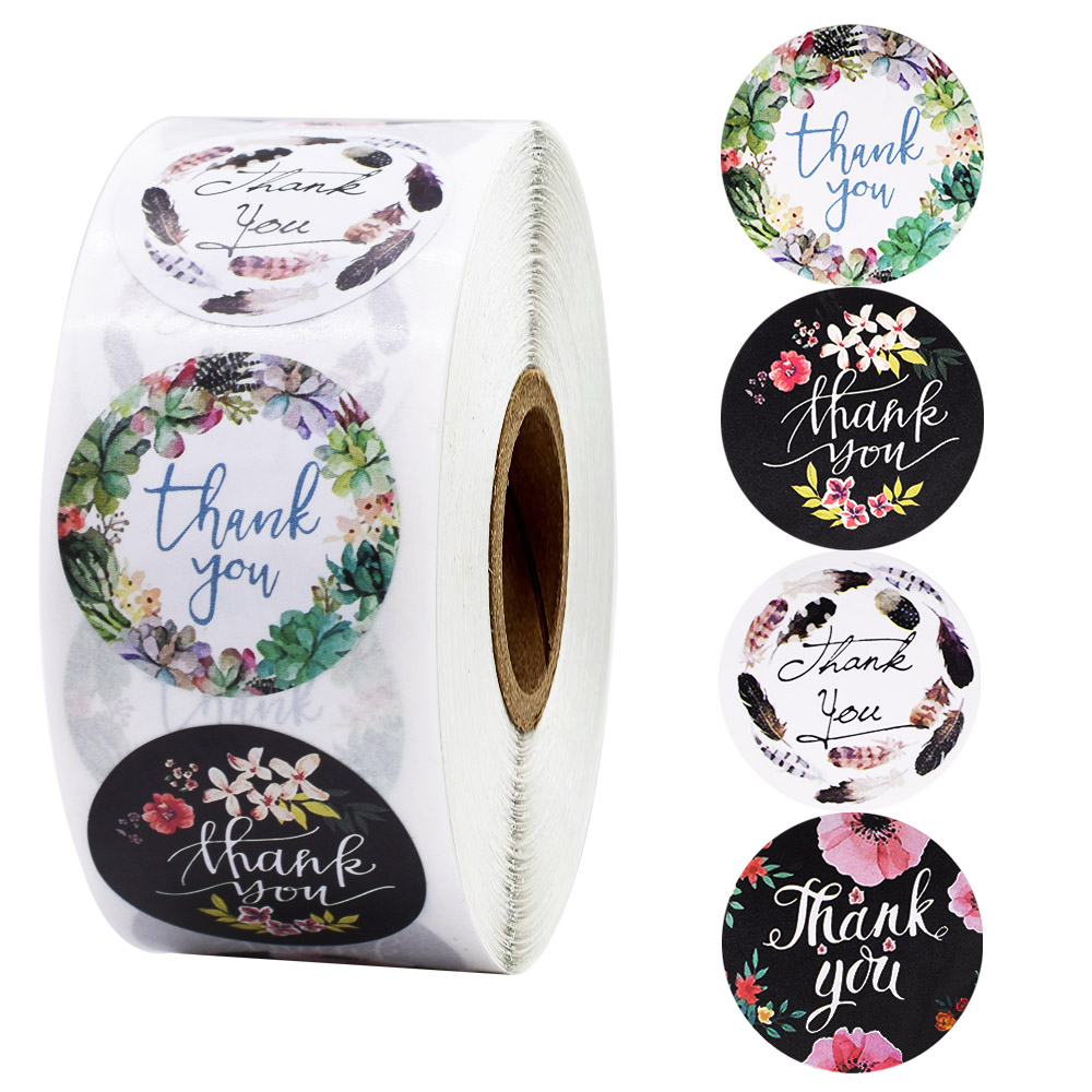 500pcs 4 styles round flower wedding party decoration stickers packaging seal stickers stationery scrapbook stickers
