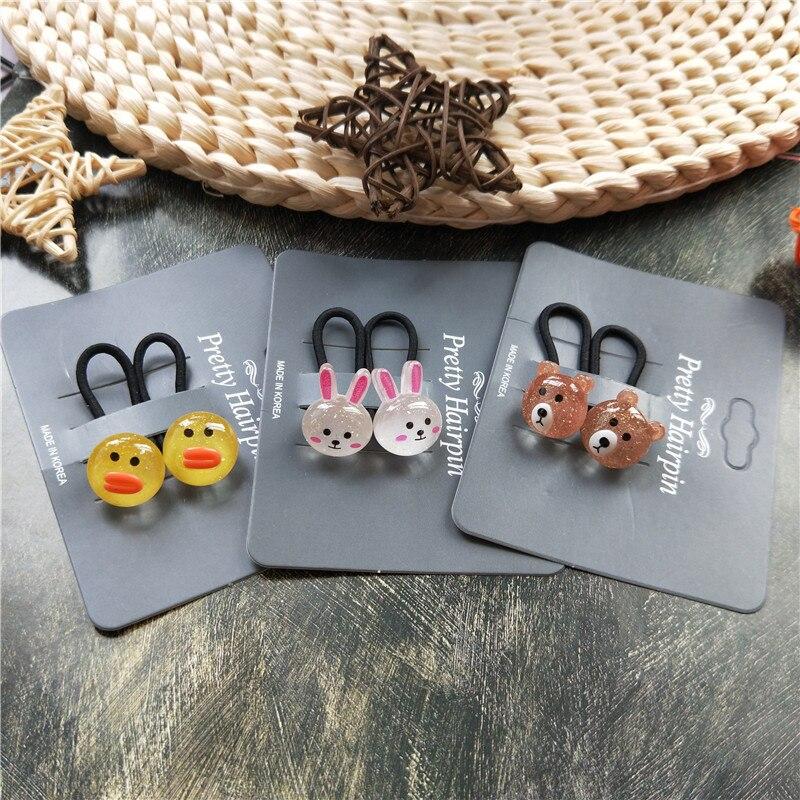 2PCS New Cute Cartoon Bear Rabbit Kids Elastic Hair Bands Children Ropes Girls Accessories Baby Headdress Princess Headwear