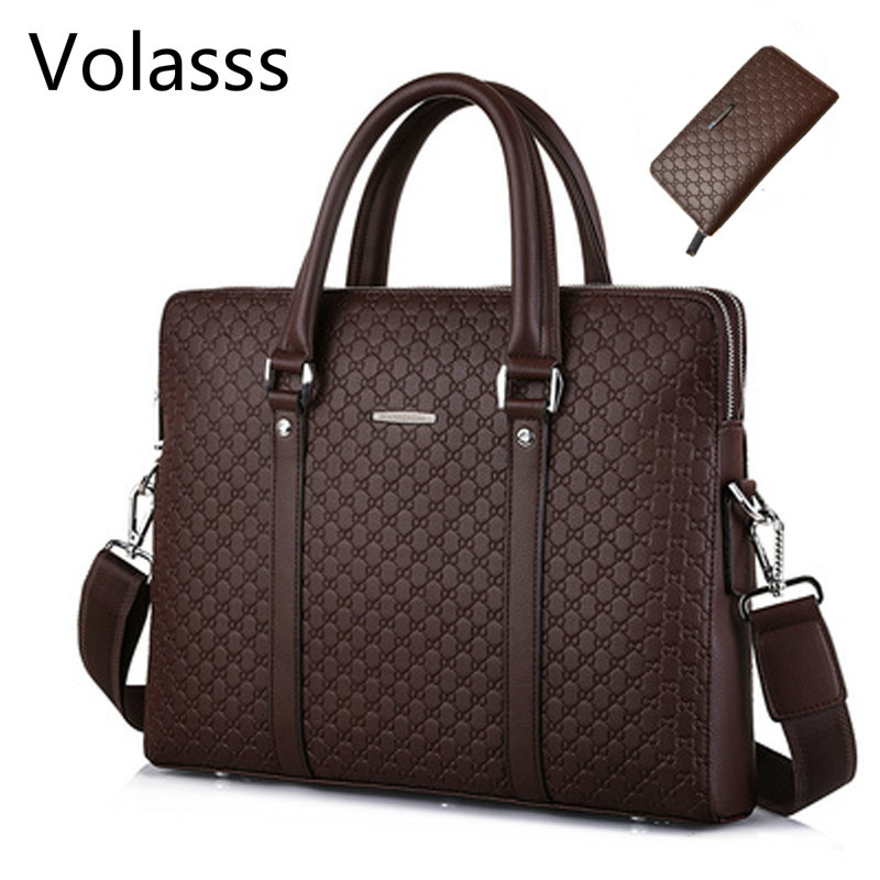 Volasss Men's Leather Business Double Layers Handbags Briefcase Messenger Men Bag Male Laptops Handbags Man Bags Bolsa Masculina