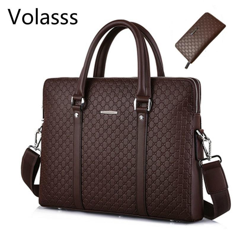Volasss Men's Leather Business Double Layers Handbags Briefcase Messenger Men Bag Male Laptops Handbags Man Bags Bolsa Masculina