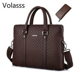 Volasss männer Leder Business Doppel Schichten Handtaschen Aktentasche Messenger Männer Tasche Männlichen Laptops Handtaschen Mann Taschen Bolsa Masculina