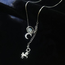 SHEON New Design 926 Sterling Silver Elegant Moonstone Unicorn Necklaces & Pendants Women Jewelry For Lover Gift