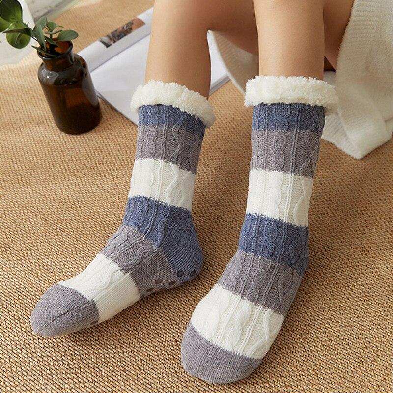 Chaussettes fourrées à rayures