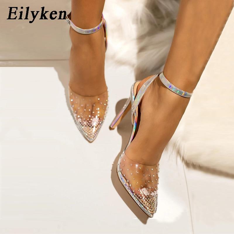 EilyKen Fashion Rhinestone PVC Transparent Pumps Shoes Stilettos High Heels Sandals Women Pointed Toe Party Silver Wedding Shoes