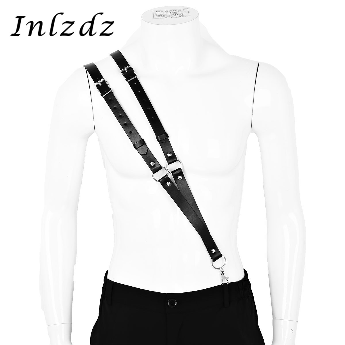 Harness Mens Imitation Leather Double Straps Single-Shoulder Braces Adjustable Suspender Harness Belt With Buckles And O Rings