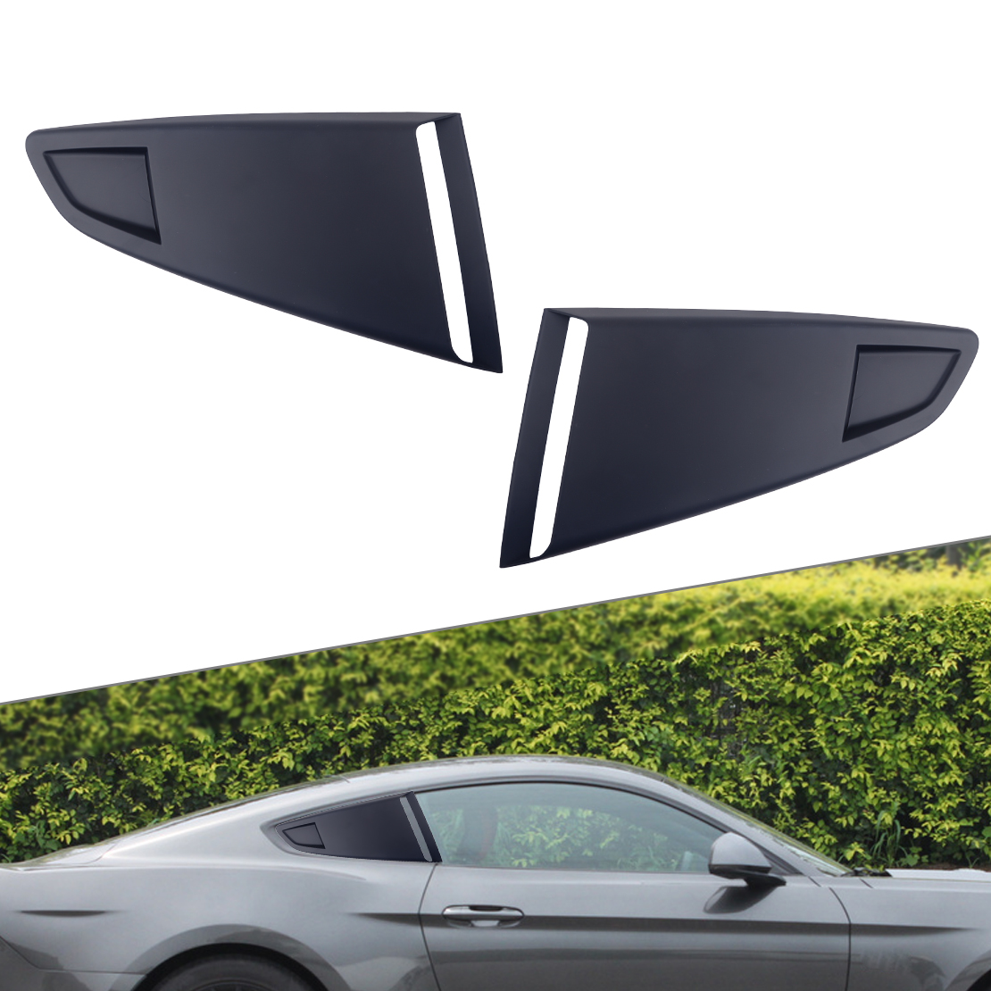 DWCX 1Pair Plastic Car Window Quarter Rear Louver Side Vent Scoop Cover Black Fit For <font><b>Ford</b></font> <font><b>Mustang</b></font> <font><b>2015</b></font> 2016 2017 2018 image