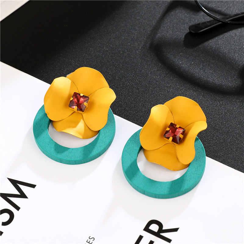 Trendi Anting-Anting untuk Wanita 2019 Berlebihan Bunga Korea Laporan Bulat Besar Drop Anting-Anting Wanita Perhiasan untuk Wanita Hadiah