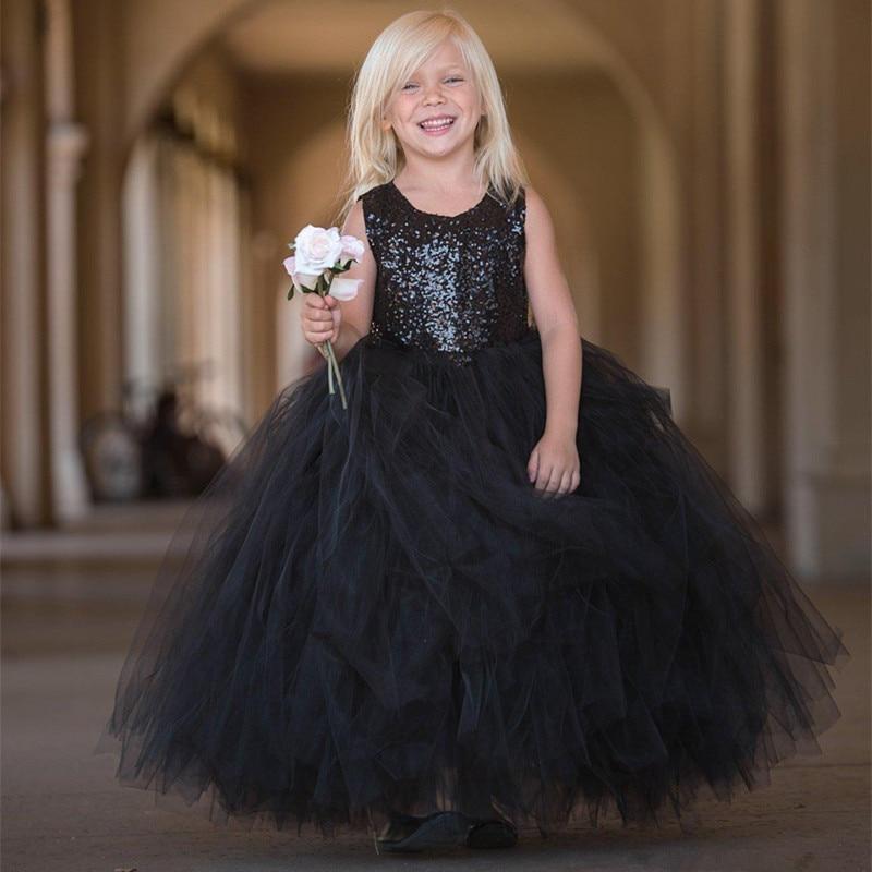 Flower Girl Dresses For Wedding In Black Sequin With Black Tulle Skirt Kids Birthday Children Girls Party Gowns