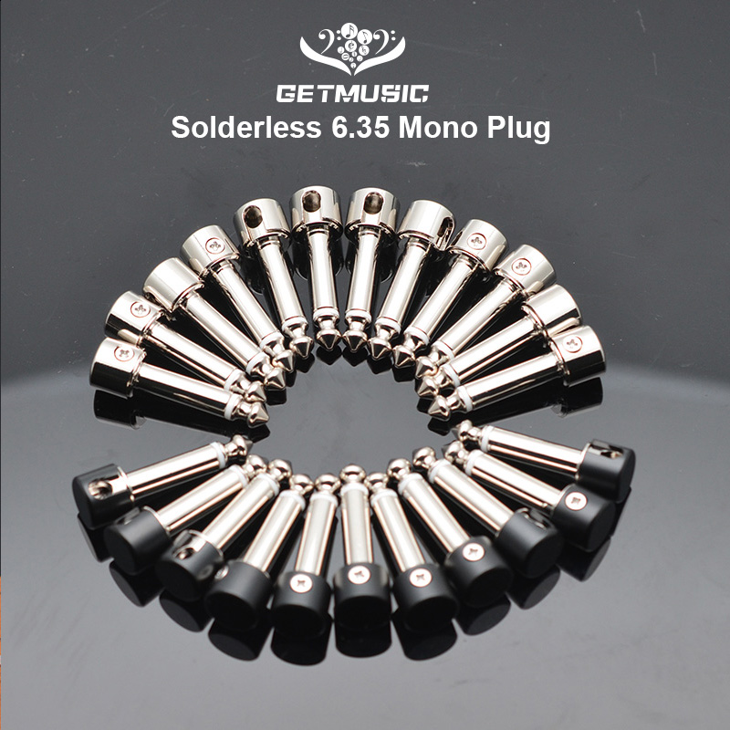 12Pcs DIY Strait Audio Solderless 6.35 Mono Plug Solder Free Plug Guitar Effect Connector Chrome-Black