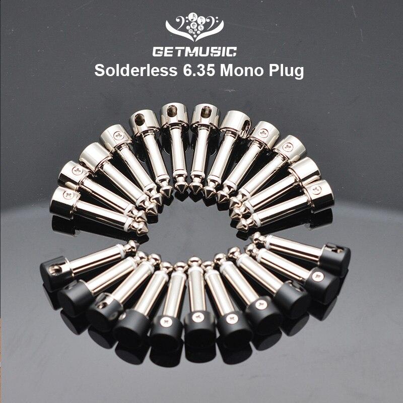 12Pcs DIY Strait Audio Solderless 6.35 Mono Plug Solder Free Plug Guitar Effect Connector Chrome-Black