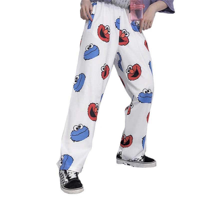 Harajuku Cartoon Printing Kids Lovely Loose Leisure Student Girls Summer Straight Trousers Pant  Hip Hop Straight Pant