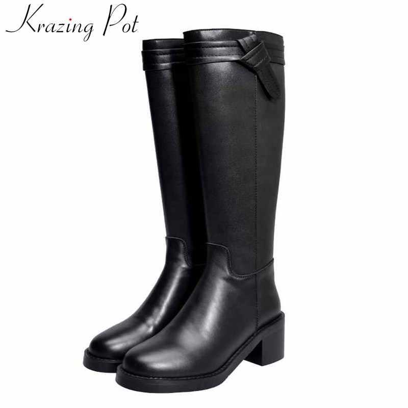 Krazing Nồi Màu Đen Phong Cách Hàn Quốc Màu Sắc Hiệp Sĩ Ủng Tròn Giày Cao Gót Dây Kéo Sau Lưng Khóa Giữ Ấm Đùi Cao Cấp giày L22