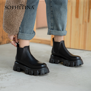 2020 new chelsea boots women brand new genuine calf leather round toe ankle bootie autumn winter shoes handmade platform boots SOPHITINA New Chelsea Ankle Boots Round Toe High Quality Cow Leather  Handmade Boots Stylish Anti-skid Platform Shoes WomenSO558
