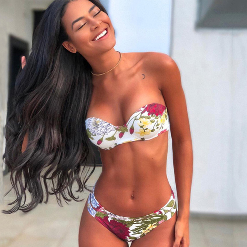 Print Floral Bikini Bandeau Swimsuit Striped Bikini Set Swimwear Women Bikinis 2020 Woman Two-piece Suit Monokini Swimsuit Sexy