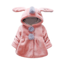 Girls Coat Hot Cute Baby Long Sleeve Venonat Rabbit Ears Hooded Keep Warm Coat Jacket Winter overalls for girls manteau fille brand baby infant girls fur winter warm coat 2018 cloak jacket thick warm clothes baby girl cute hooded long sleeve coats jacket