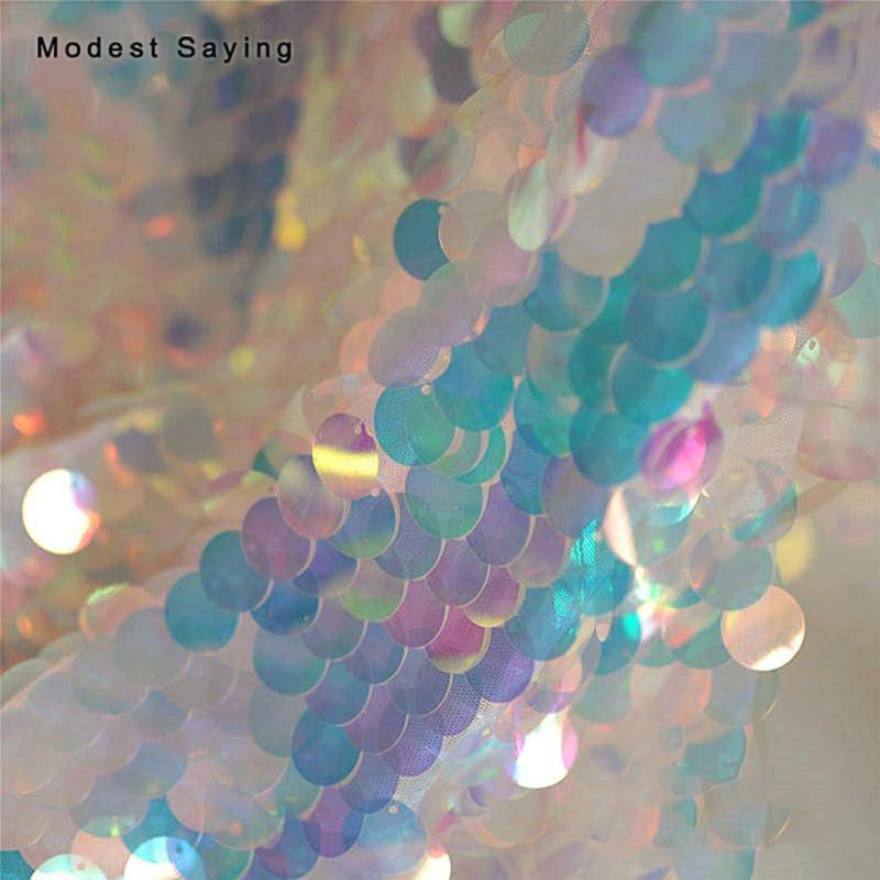3 Yards Laser Fish Scales Sequins Fabric For Evening Wedding Gown Symphony 18mm Sequins Cloth Mesh For DIY Photography Backdrop