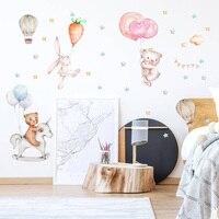 Pegatinas de pared con dibujos animados de globos, estrellas, conejo, oso, papel tapiz para habitación de bebé, dormitorio, sala de estar, decoración del hogar, pegatina de animales bonitos