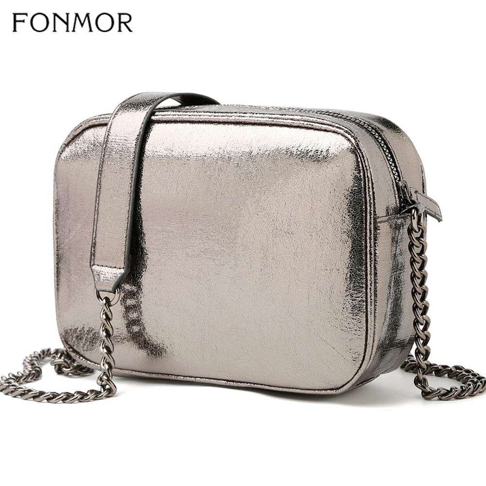 Fonmon Women Shoulder Bag Chain Strap Zip Designer Handbags Ladies PU Leather Silver Messenger Bags Hot 2019 New Fashion Trendy