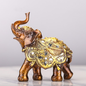 Lucky Feng Shui Wood Grain Elephant Statue Sculpture Wealth Figurine Gift Carved Natural Stone Home Desktop Decoration