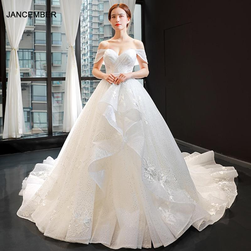 J66872 Jancember Wedding Gowns For Women 2019 Off The Shouder With Train Ruffles Pleat A Line Wedding Dress Vestiti Da Sposa