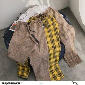Privathinker мужские и женские корейские черные клетчатые повседневные штаны 2020 мужские уличные шаровары мужские клетчатые брюки размера плюс