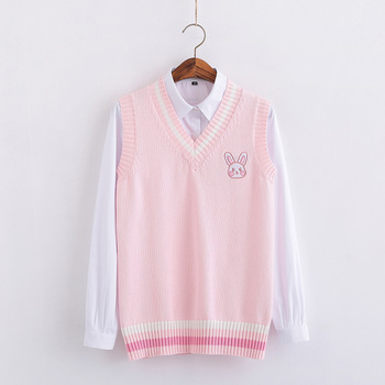 Pink Small rabbit Embroidery pattern Sweater vest high school Japanese-style knitting pullover 1