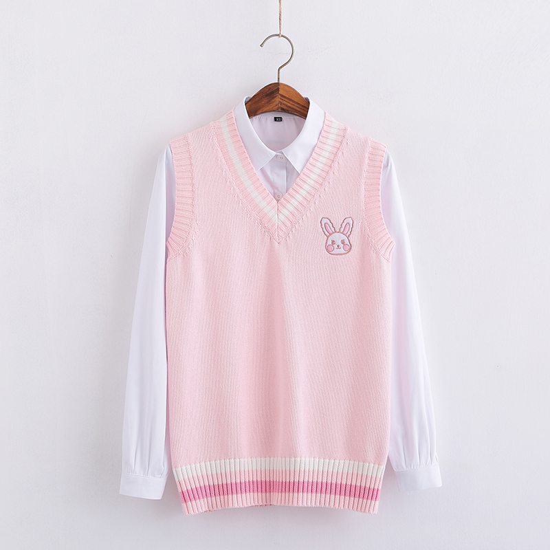 Pink Small Rabbit Embroidery Pattern Sweater Vest High School Japanese-style Knitting Pullover