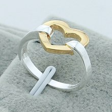 Wholesale Love Heart Romantic 925 Solver Women Rings 4 Styles Double color High Quality Jewelry Wedding Engagement Party