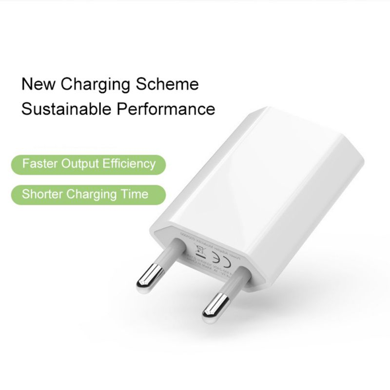 Super White Color EU Plug Power Adapter USB Charger Universal Phone Wall Charger 5A Charging Head No Cable For IPhone Huawei - 2