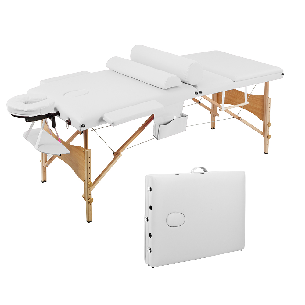 【US Warehouse】3 Sections Folding Portable SPA Bodybuilding Massage Table Set White