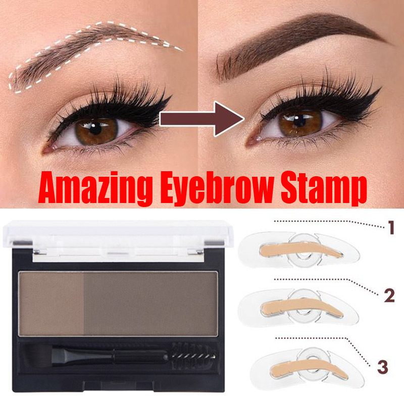 Adjustable Perfect Eyebrow Stamp Double Colors Eyebrow Enhancers Powder Palette Arch Eyebrow Seal Makeup Natural Eyebrows Shadow
