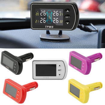 Hot! 4 Colors Tire Pressure Monitor System + 4 External Sensors LCD Display GT02-T02 New And High Quality