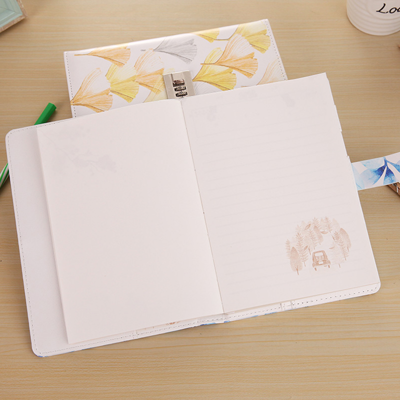 Paperboat Creative 32K Cover Lockable Notebook with Lock PU Leather Diary Writing Pads Password Code Diary School Student Gift