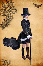 2019 Black Butler Kuroshitsuji Ciel Phantomhive Black Steampunk Suit Anime Cosplay Costume Halloween Women Dress o(China)