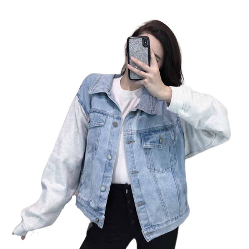 Cowboy Loose Denim   Basic     Jacket   Coat Woman 2019 Autumn Casual Chaqueta Mujer Plus Size Patchwork Streetwear Outerwear & Coats