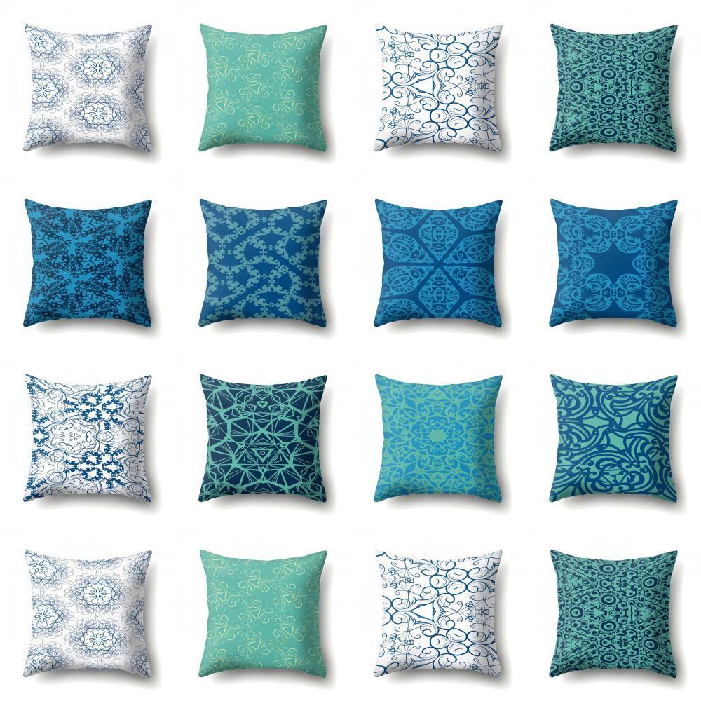 Blue Cushion Cover Striped Housse De Coussin Throw Pillows for Living Room Sofa Soft Pillow Case Hotel Office Chair Cushion 45cm