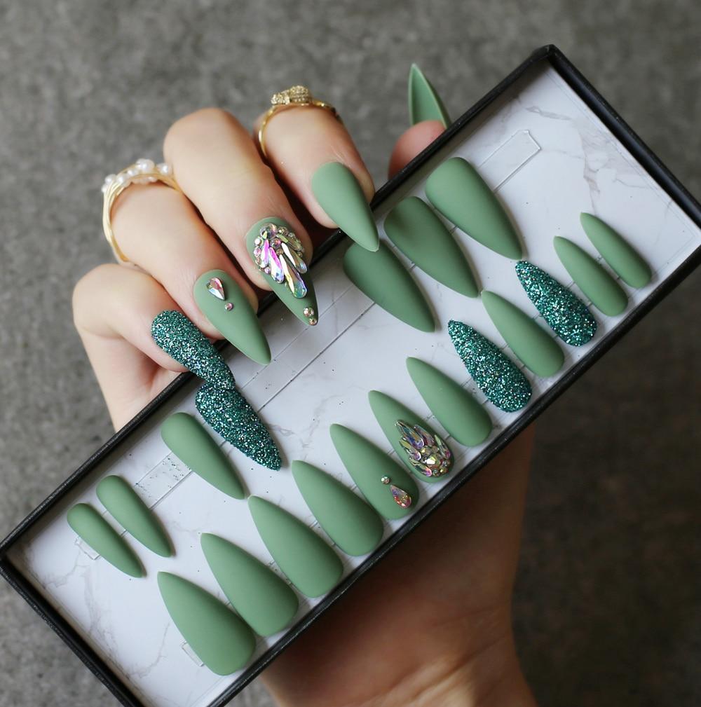 azeitona verde salao stiletto unhas falsas diy cristal glitter unhas falsas conjunto completo de unhas