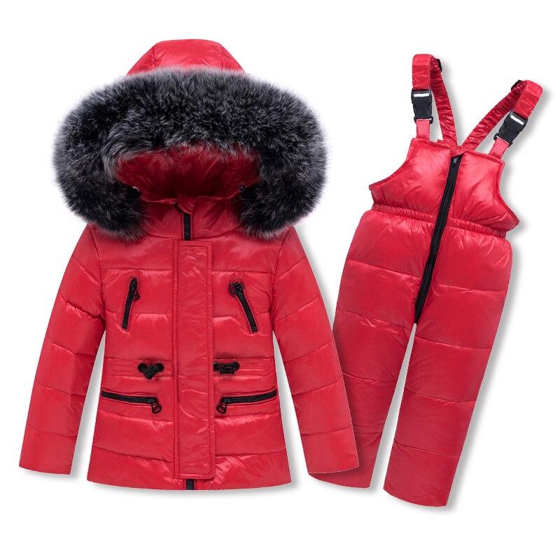 HSSCZL 2019 Children Clothing Set Jumpsuit Snow Jacket+bib Pant 2pcs Set Baby Boy Girls Duck Down Jacket Coat winter fur 2-6A