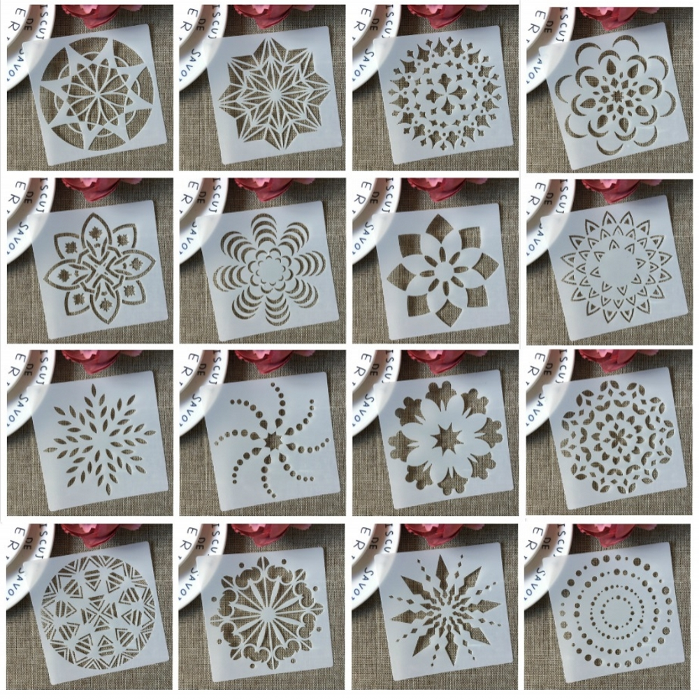 16Pcs/Set 13cm Mandala Star Geometry DIY Layering Stencils Painting Scrapbook Coloring Embossing Album Decorative Template