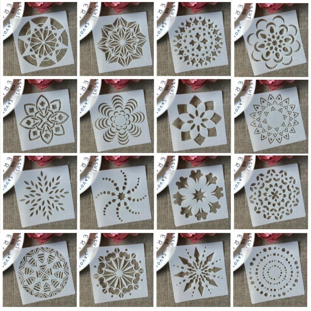 16Pcs/Set 13cm Mandala Star Geometry DIY Layering Stencils Painting Scrapbook Coloring Embossing Album Decorative Template