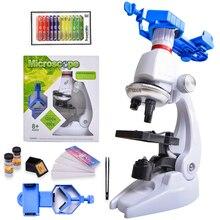 현미경 키트 실험실 LED 100X 400X 1200X 가정 학교 과학 교육 장난감 선물 아이들을위한 정제 된 생물 현미경 어린이
