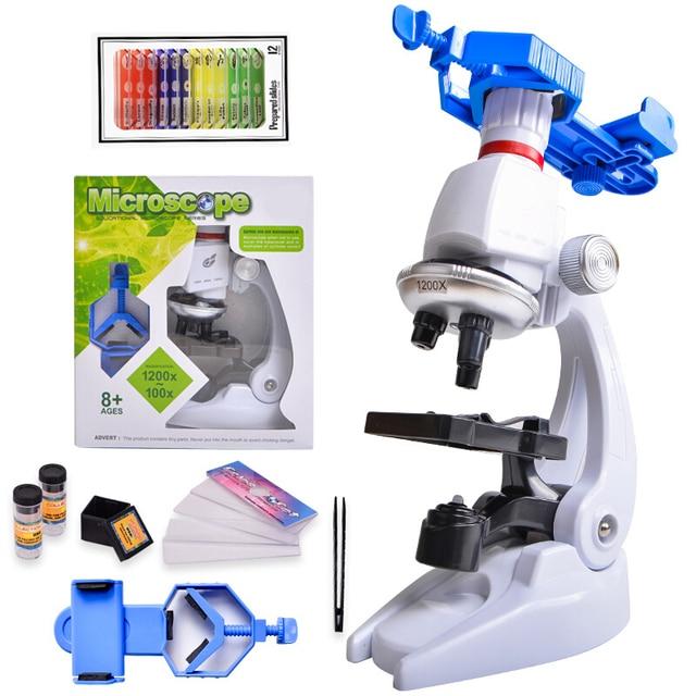 Microscópio kit laboratório led 100x 400x 1200x escola em casa ciência brinquedo educacional presente refinado microscópio biológico para crianças criança