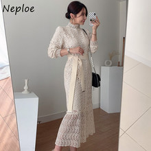 Neploe – Robe sirène en dentelle Style coréen pour femmes, élégante, taille haute, hanche, Slim, manches longues