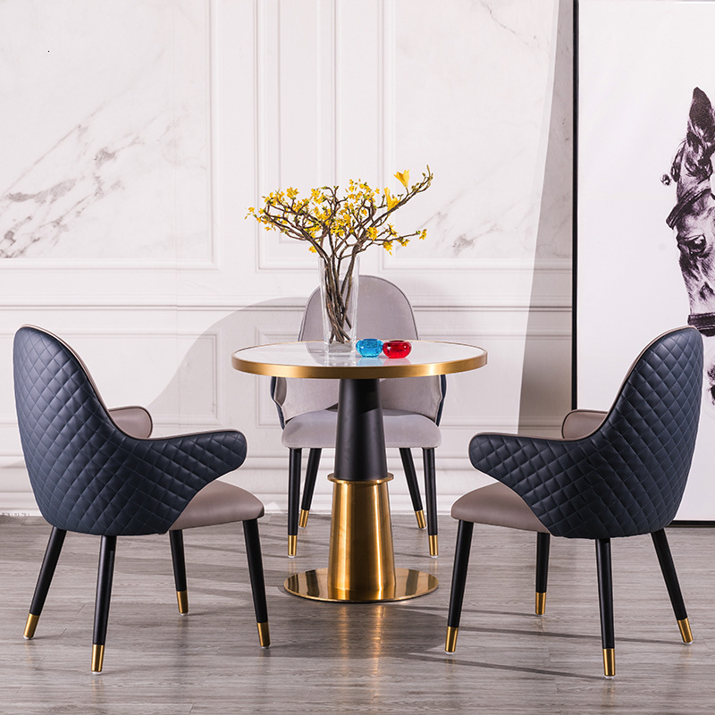 Discussion Table, Chair, Back, Solid Wood Armrest, American Style Light Luxury Coffee Hotel Designer,  Northern Europe Chair