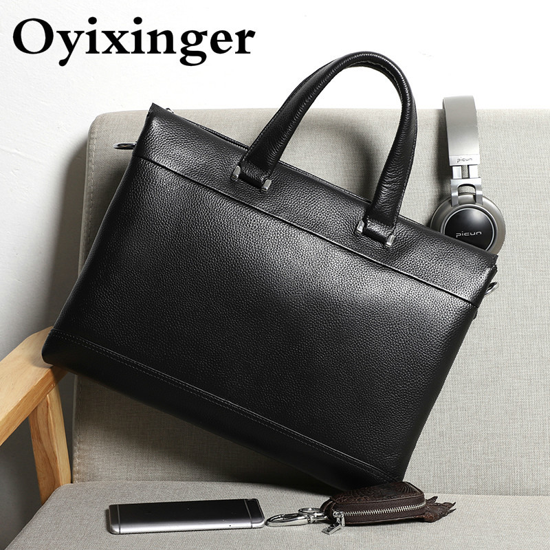 Genuine Leather Men Briefcases Male Handbag Male 15.6