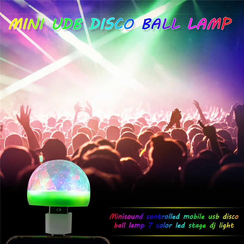 מיני USB דיסקו אור LED המפלגה אורות נייד קריסטל קסם כדור צבעוני אפקט שלב מנורת לבית מסיבת קריוקי דקור