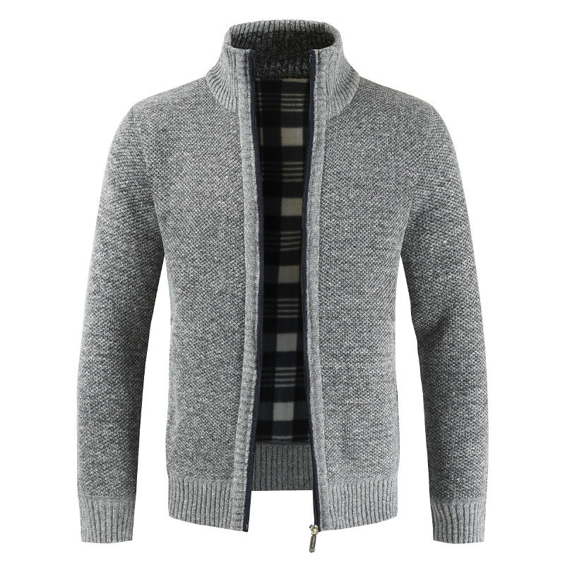 Autumn Winter Cardigan Men Solid Color Full Sleeve Mens Sweaters Thick Warm Fleece Turtleneck Sweater Hombre